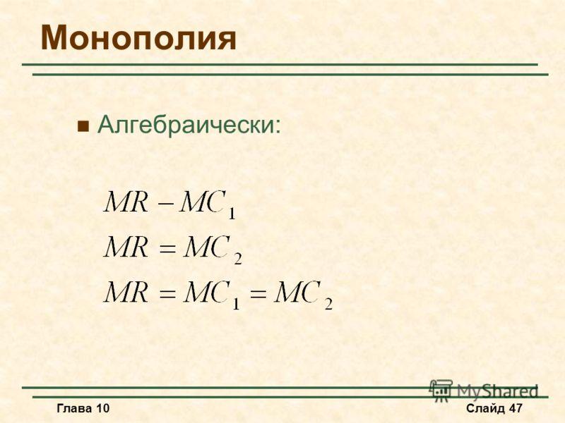 Глава 10Слайд 47 Монополия Алгебраически: