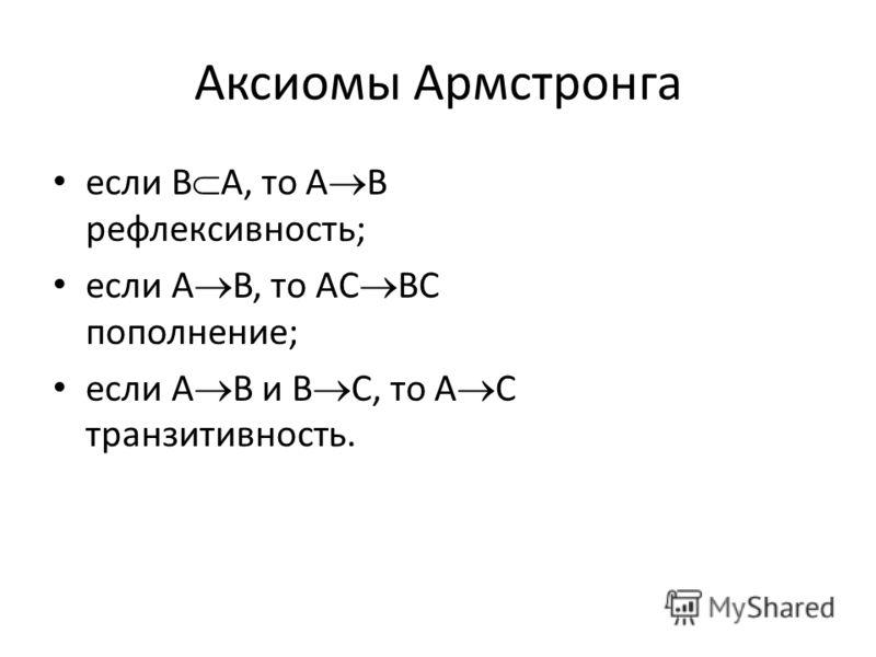 Аксиомы Армстронга если B A, то A B рефлексивность; если A B, то AC BC пополнение; если A B и B C, то A C транзитивность.