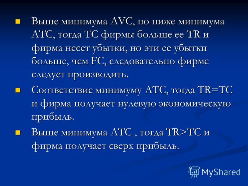 Выше минимума AVC, но ниже минимума АТС, тогда ТС фирмы больше ее TR и фирма несет убытки, но эти ее убытки больше, чем FC, следовательно фирме следует производить. Выше минимума AVC, но ниже минимума АТС, тогда ТС фирмы больше ее TR и фирма несет уб