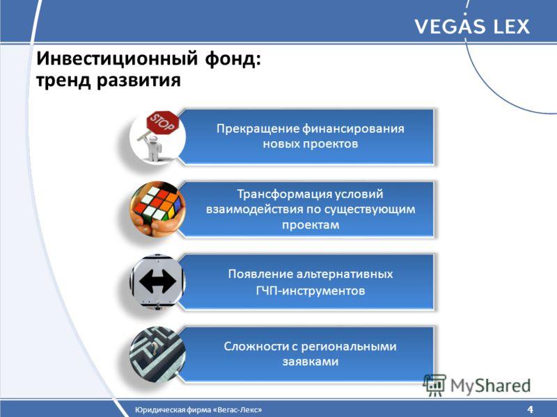 4 Юридическая фирма «Вегас-Лекс» Инвестиционный фонд: тренд развития 4 Прекращение финансирования новых проектов Трансформация условий взаимодействия по существующим проектам Появление альтернативных ГЧП-инструментов Сложности с региональными заявкам
