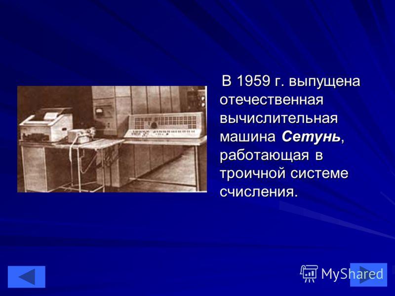 20 В 1959 г. выпущена отечественная вычислительная машина Сетунь, работающая в троичной системе счисления. В 1959 г. выпущена отечественная вычислительная машина Сетунь, работающая в троичной системе счисления.