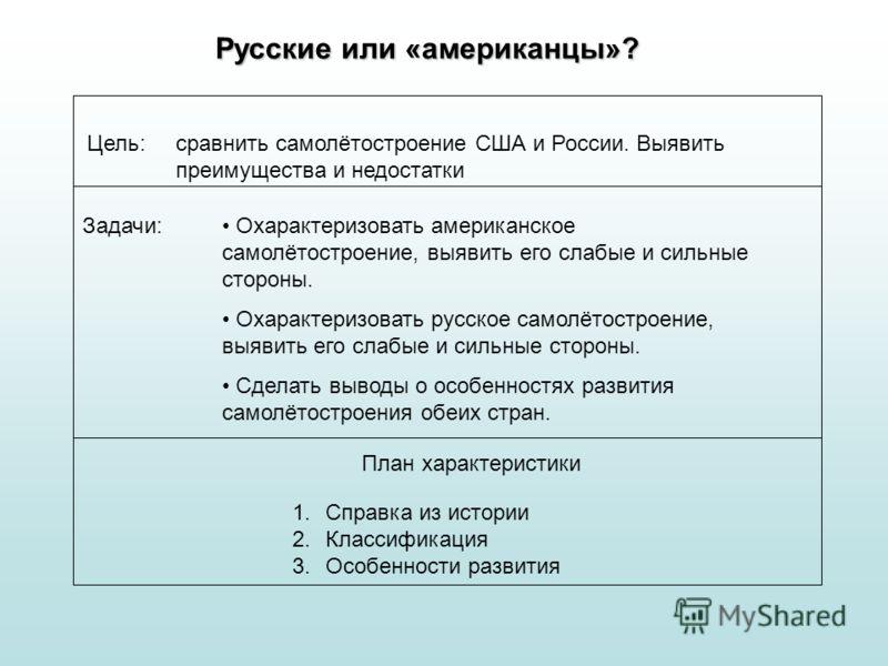 Русские или «американцы»? Цель: сравнить самолётостроение США и России. Выявить преимущества и недостатки Задачи: Охарактеризовать американское самолётостроение, выявить его слабые и сильные стороны. Охарактеризовать русское самолётостроение, выявить