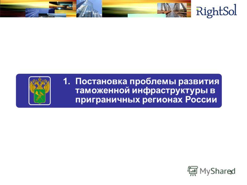 1.Постановка проблемы развития таможенной инфраструктуры в приграничных регионах России 3
