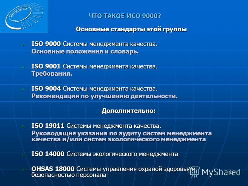 ЧТО ТАКОЕ ИСО 9000? Основные стандарты этой группы ISO 9000 Системы менеджмента качества. ISO 9000 Системы менеджмента качества. Основные положения и словарь. ISO 9001 Системы менеджмента качества. ISO 9001 Системы менеджмента качества.Требования. IS