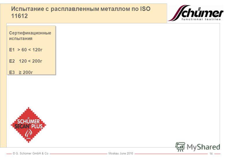 © G. Schümer GmbH & Co Moskau June 2010 13 Schümer SECAN®-Контроль Постоянный Контроль качества каждых 120 м ткани Независимый Испытания проводятся в независимой лаборатории Понятный Ткань отгружается клиенту только с сертификатом испытаний Надежный