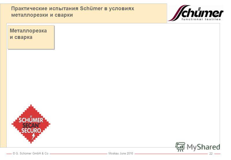 © G. Schümer GmbH & Co Moskau June 2010 21 Испытание с брызгами расплавленного металла по ISO 11611 Для сравнения различных материалов при КОРОТКОМ контакте с МЕЛКИМИ каплями металла. Испытание симулирует контакт с 0,5 г металла, которые немедленно с