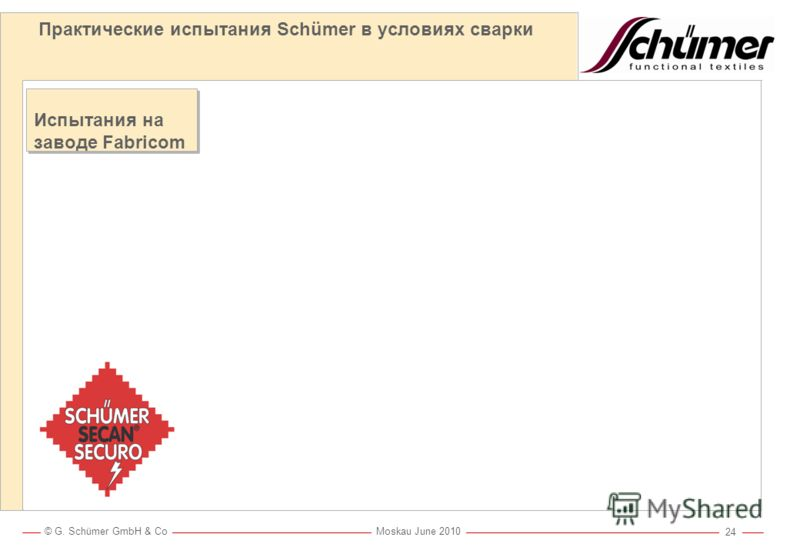 © G. Schümer GmbH & Co Moskau June 2010 23 Практические испытания Schümer в условиях металлорезки металлорезка