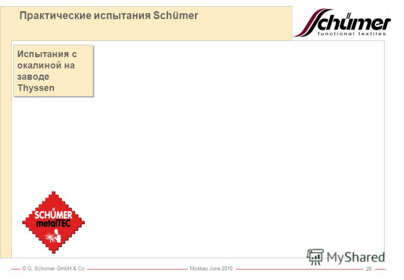 © G. Schümer GmbH & Co Moskau June 2010 25 Практические испытания Schümer Испытание с окалиной на заводе Thyssen