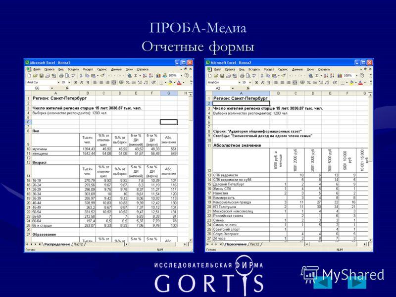 Отчетные формы ПРОБА-Медиа Отчетные формы