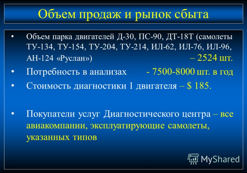 12 Объем парка двигателей Д-30, ПС-90, ДТ-18Т (самолеты ТУ-134, ТУ-154, ТУ-204, ТУ-214, ИЛ-62, ИЛ-76, ИЛ-96, АН-124 «Руслан») – 2524 шт. Потребность в анализах - 7500-8000 шт. в год Стоимость диагностики 1 двигателя – $ 185. Покупатели услуг Диагност