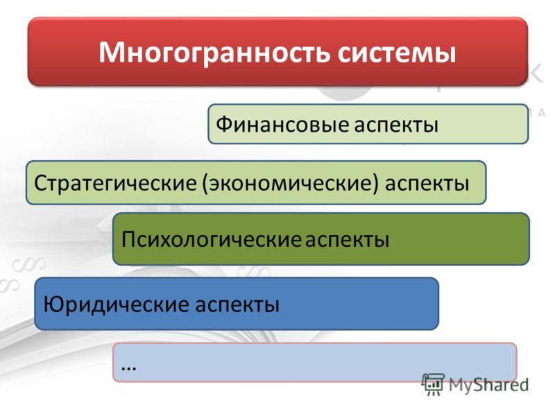 Многогранность системы Финансовые аспекты Стратегические (экономические) аспекты Психологические аспекты Юридические аспекты …