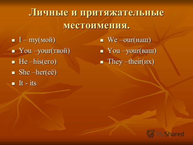 Личные и притяжательные местоимения. I – my(мой) I – my(мой) You –your(твой) You –your(твой) He –his(его) He –his(его) She –her(её) She –her(её) It - its It - its We –our(наш) We –our(наш) You –your(ваш) You –your(ваш) They –their(их) They –their(их)