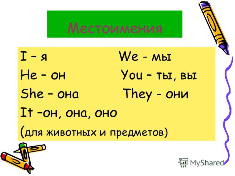 Местоимения I – я We - мы He – он You – ты, вы She – она They - они It –он, она, оно ( для животных и предметов)