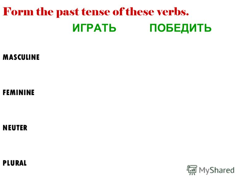 Form the past tense of these verbs. ИГРАТЬ ПОБЕДИТЬ MASCULINE FEMININE NEUTER PLURAL