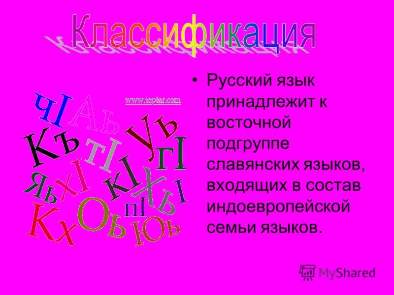 Русский язык принадлежит к восточной подгруппе славянских языков, входящих в состав индоевропейской семьи языков.