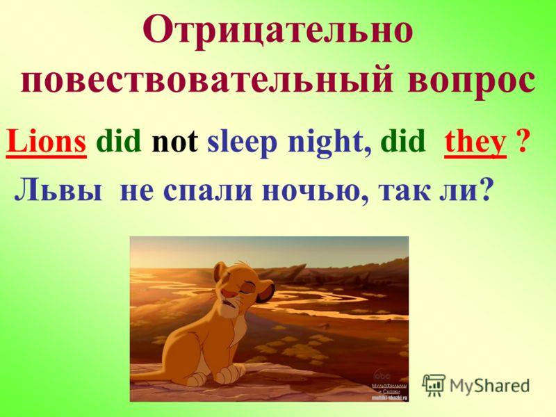Отрицательно повествовательный вопрос Lions did not sleep night, did they ? Львы не спали ночью, так ли?