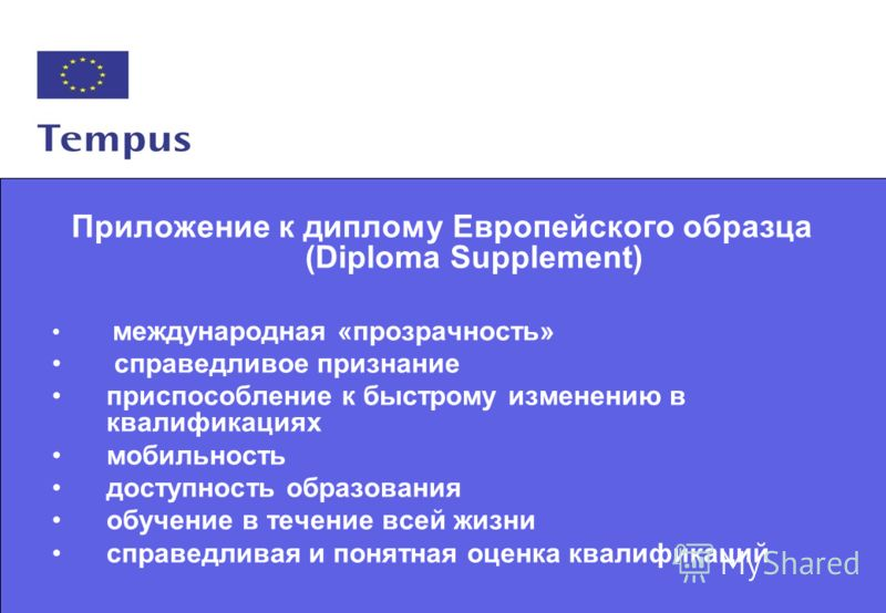 6 Приложение к диплому Европейского образца (Diploma Supplement) международная «прозрачность» справедливое признание приспособление к быстрому изменению в квалификациях мобильность доступность образования обучение в течение всей жизни справедливая и