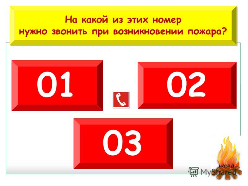 На какой из этих номер нужно звонить при возникновении пожара? На какой из этих номер нужно звонить при возникновении пожара? 01 02 03 назад
