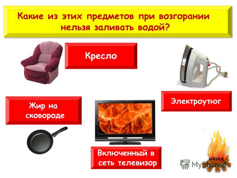 Какие из этих предметов при возгорании нельзя заливать водой? Какие из этих предметов при возгорании нельзя заливать водой? Электроутюг Жир на сковороде назад Включенный в сеть телевизор Кресло