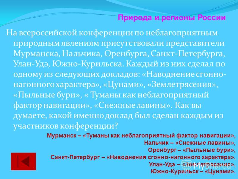 На всероссийской конференции по неблагоприятным природным явлениям присутствовали представители Мурманска, Нальчика, Оренбурга, Санкт-Петербурга, Улан-Удэ, Южно-Курильска. Каждый из них сделал по одному из следующих докладов: «Наводнение сгонно- наго
