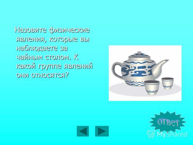 Назовите физические явления, которые вы наблюдаете за чайным столом. К какой группе явлений они относятся?