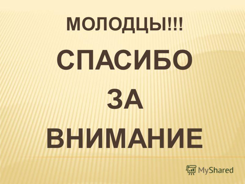 МОЛОДЦЫ!!! СПАСИБО ЗА ВНИМАНИЕ