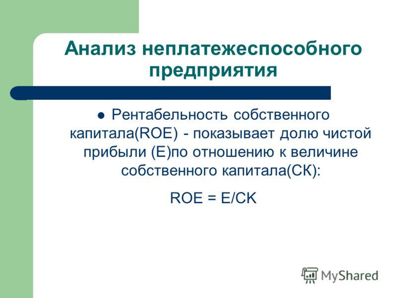 Анализ неплатежеспособного предприятия Рентабельность собственного капитала(ROE) - показывает долю чистой прибыли (Е)по отношению к величине собственного капитала(СК): ROE = Е/CK