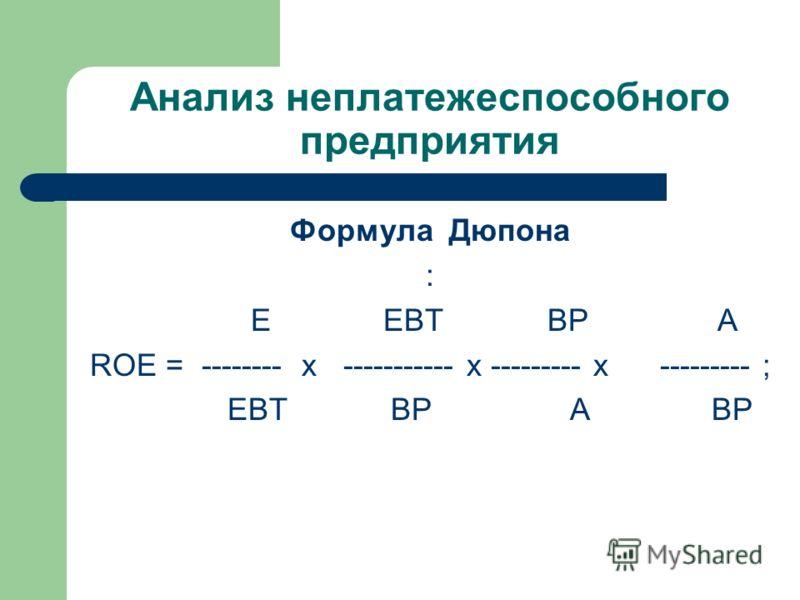 Анализ неплатежеспособного предприятия Формула Дюпона : E EBT ВР A ROE = -------- x ----------- x --------- x --------- ; EBT ВР A ВР