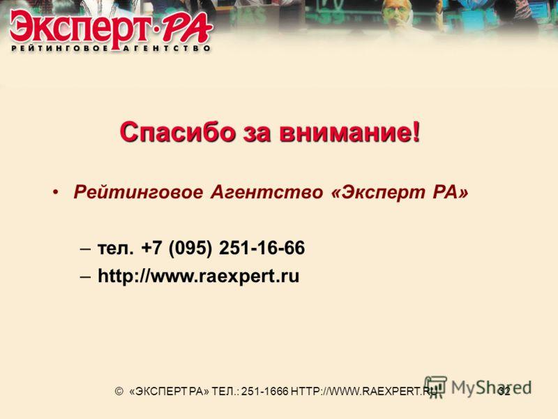 © «ЭКСПЕРТ РА» ТЕЛ.: 251-1666 HTTP://WWW.RAEXPERT.RU32 Спасибо за внимание! Рейтинговое Агентство «Эксперт РА» –тел. +7 (095) 251-16-66 –http://www.raexpert.ru