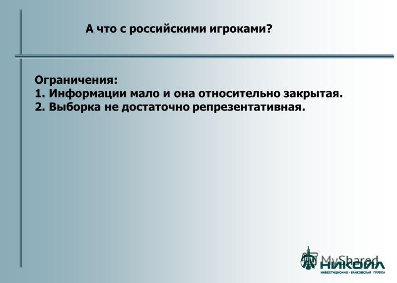 А что с российскими игроками? Ограничения: 1. Информации мало и она относительно закрытая. 2. Выборка не достаточно репрезентативная.
