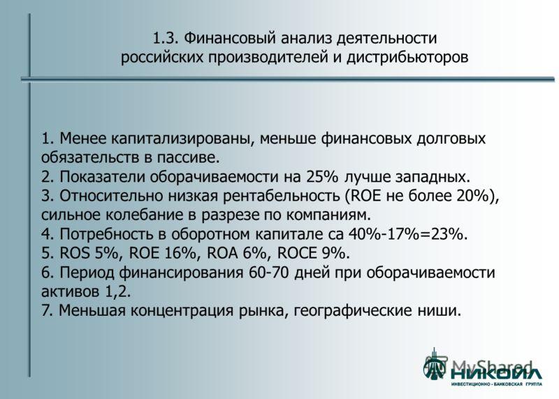 1.3. Финансовый анализ деятельности российских производителей и дистрибьюторов 1. Менее капитализированы, меньше финансовых долговых обязательств в пассиве. 2. Показатели оборачиваемости на 25% лучше западных. 3. Относительно низкая рентабельность (R