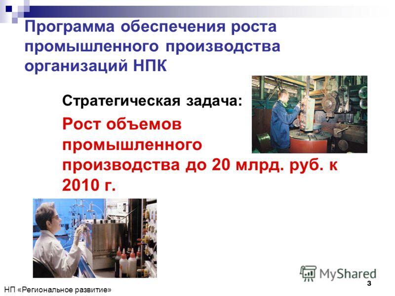 НП «Региональное развитие» 3 Программа обеспечения роста промышленного производства организаций НПК Стратегическая задача: Рост объемов промышленного производства до 20 млрд. руб. к 2010 г.