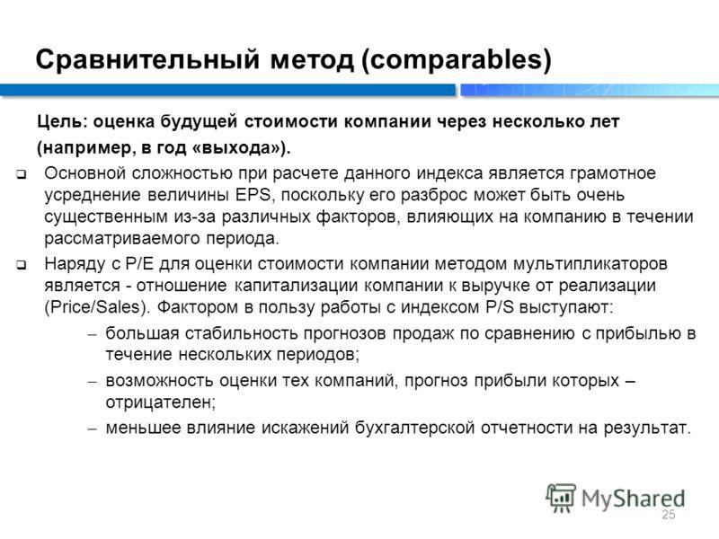 Цель: оценка будущей стоимости компании через несколько лет (например, в год «выхода»). Основной сложностью при расчете данного индекса является грамотное усреднение величины EPS, поскольку его разброс может быть очень существенным из-за различных фа