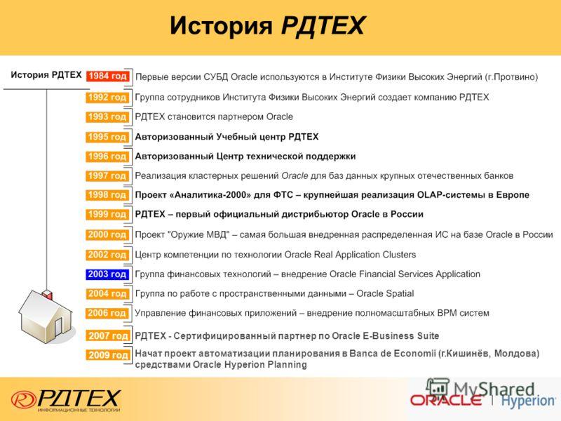 История РДТЕХ РДТЕХ - Сертифицированный партнер по Oracle E-Business Suite 2007 год Начат проект автоматизации планирования в Banca de Economii (г.Кишинёв, Молдова) средствами Oracle Hyperion Planning 2009 год