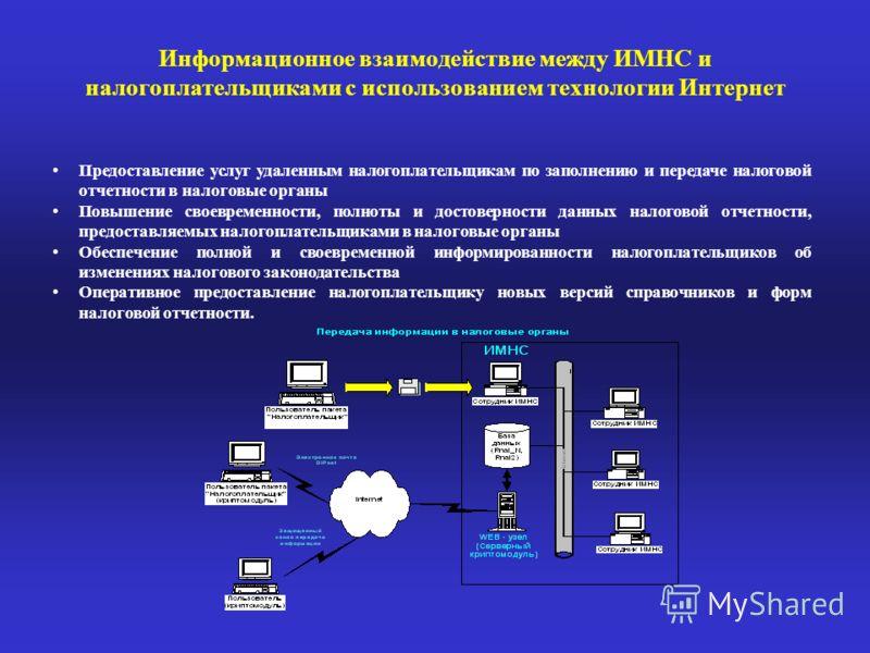 Информационное взаимодействие между ИМНС и налогоплательщиками с использованием технологии Интернет Предоставление услуг удаленным налогоплательщикам по заполнению и передаче налоговой отчетности в налоговые органы Повышение своевременности, полноты
