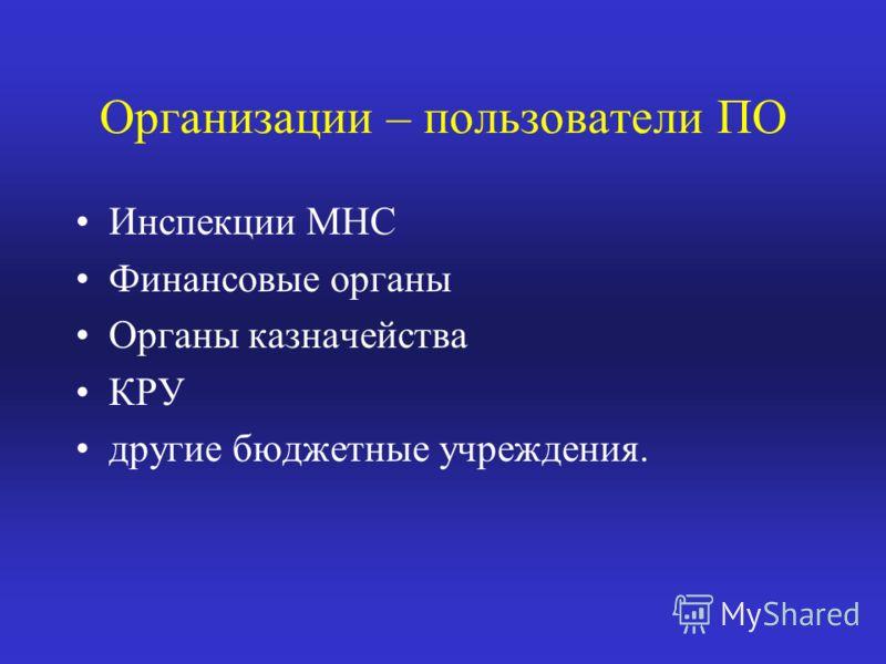 Организации – пользователи ПО Инспекции МНС Финансовые органы Органы казначейства КРУ другие бюджетные учреждения.