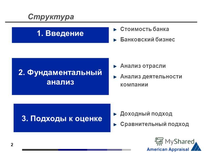 2 American Appraisal Структура Стоимость банка Банковский бизнес Анализ отрасли Анализ деятельности компании Доходный подход Сравнительный подход 1. Введение 2. Фундаментальный анализ 3. Подходы к оценке