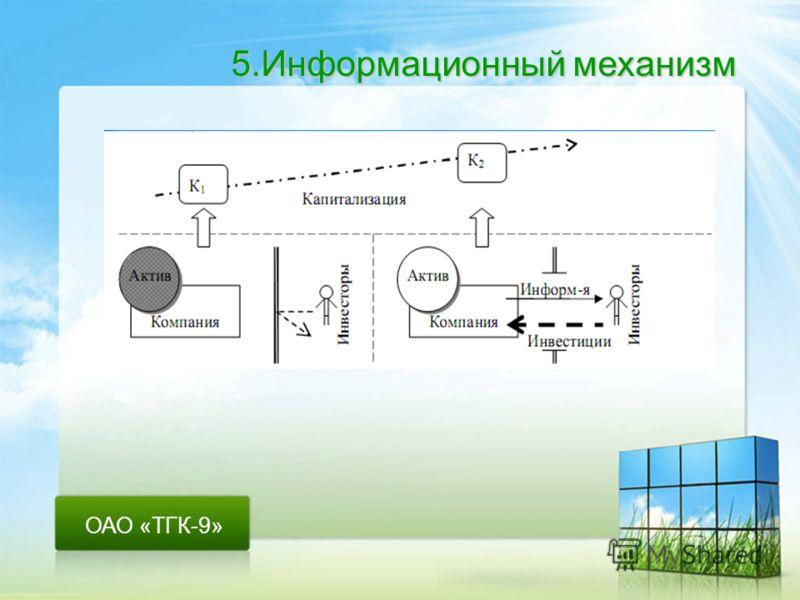 ОАО «ТГК-9» 5.Информационный механизм