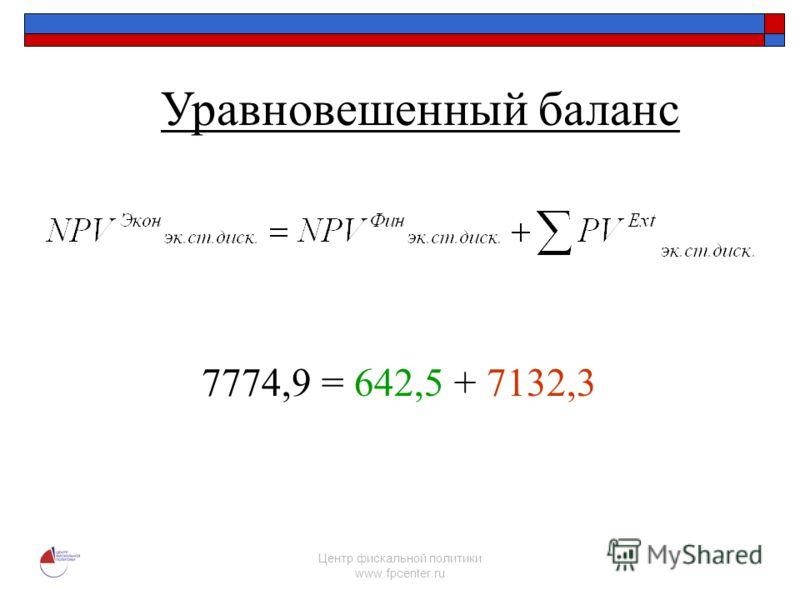 Центр фискальной политики www.fpcenter.ru 7774,9 = 642,5 + 7132,3 Уравновешенный баланс
