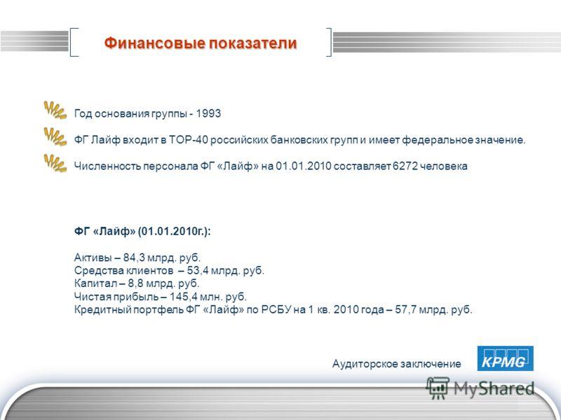 LOGO www.themegallery.com Финансовые показатели Год основания группы - 1993 ФГ Лайф входит в TOP-40 российских банковских групп и имеет федеральное значение. Численность персонала ФГ «Лайф» на 01.01.2010 составляет 6272 человека ФГ «Лайф» (01.01.2010