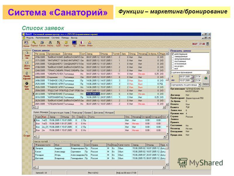 Прием заявок из внешних систем Система «Санаторий» Функции – маркетинг/бронирование
