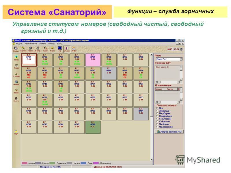 Планирование загрузки кабинетов/процедур/услуг Система «Санаторий» Функции – медицинский центр