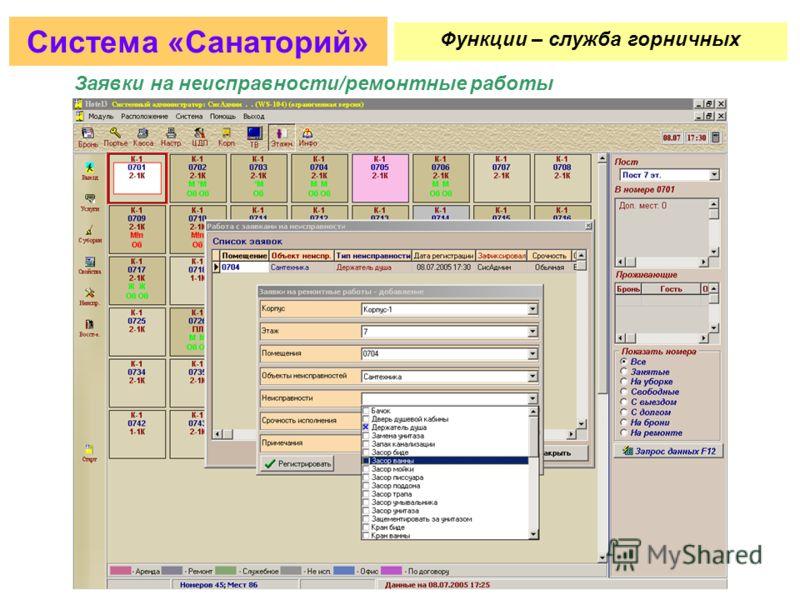 Управление статусом номеров (свободный чистый, свободный грязный и т.д.) Система «Санаторий» Функции – служба горничных