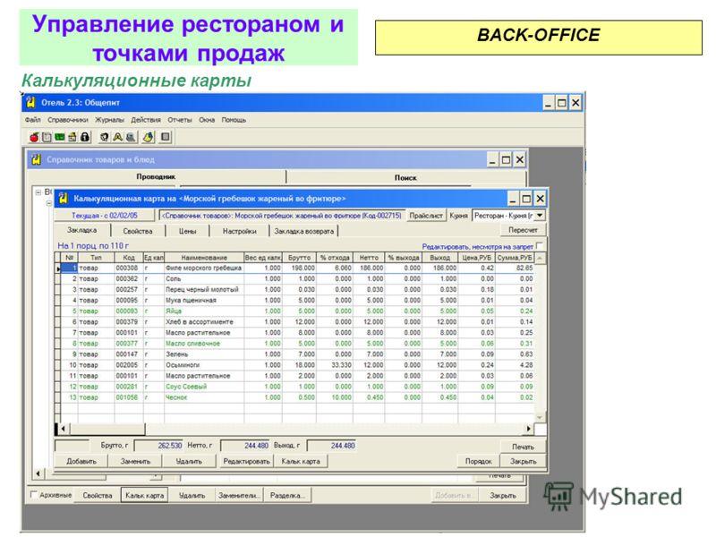 Формирование справочников BACK-OFFICE Управление рестораном и точками продаж