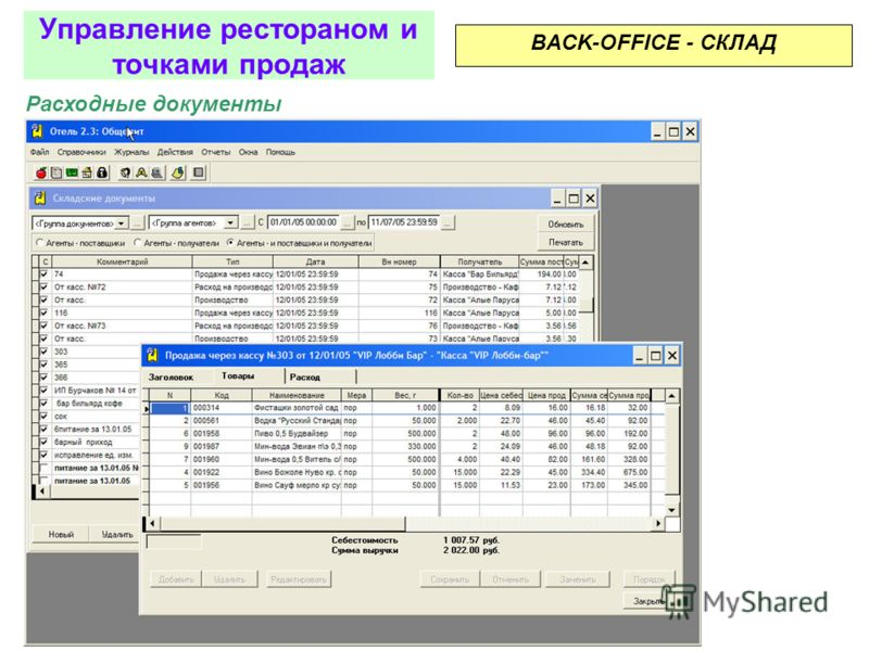 Приходные документы BACK-OFFICE - СКЛАД Управление рестораном и точками продаж