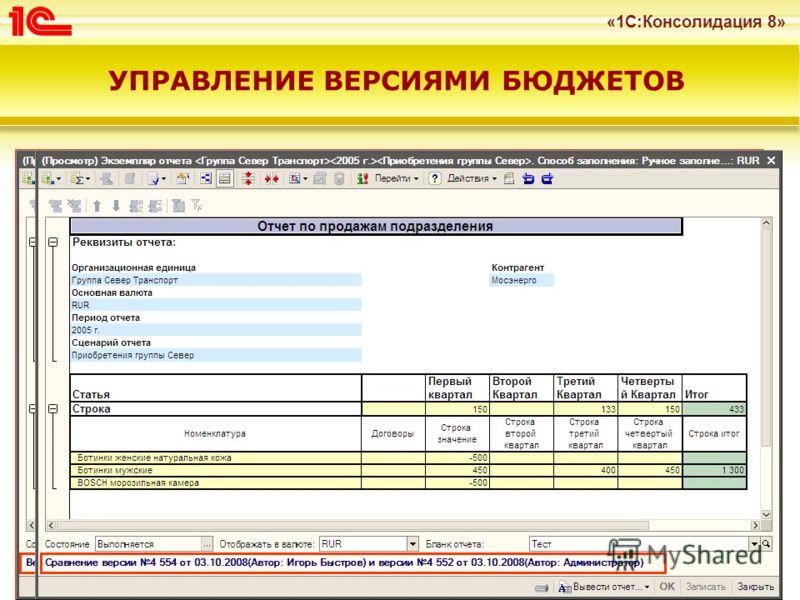«1С:Консолидация 8» 23 Версионирование бюджетов Процесс планирования итеративный Необходимо контролировать изменения, внесенные различными пользователями Механизм управления версиями позволяет осуществлять Просмотр и сравнение версий бюджетов Удалени