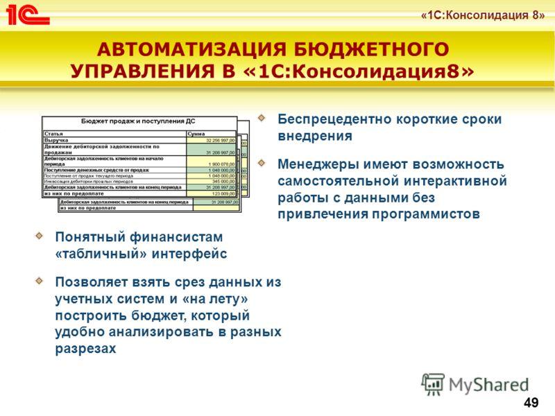 «1С:Консолидация 8» 49 АВТОМАТИЗАЦИЯ БЮДЖЕТНОГО УПРАВЛЕНИЯ В «1С:Консолидация8» Понятный финансистам «табличный» интерфейс Позволяет взять срез данных из учетных систем и «на лету» построить бюджет, который удобно анализировать в разных разрезах Бесп