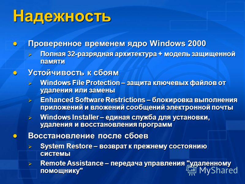 Надежность Проверенное временем ядро Windows 2000 Проверенное временем ядро Windows 2000 Полная 32-разрядная архитектура + модель защищенной памяти Полная 32-разрядная архитектура + модель защищенной памяти Устойчивость к сбоям Устойчивость к сбоям W