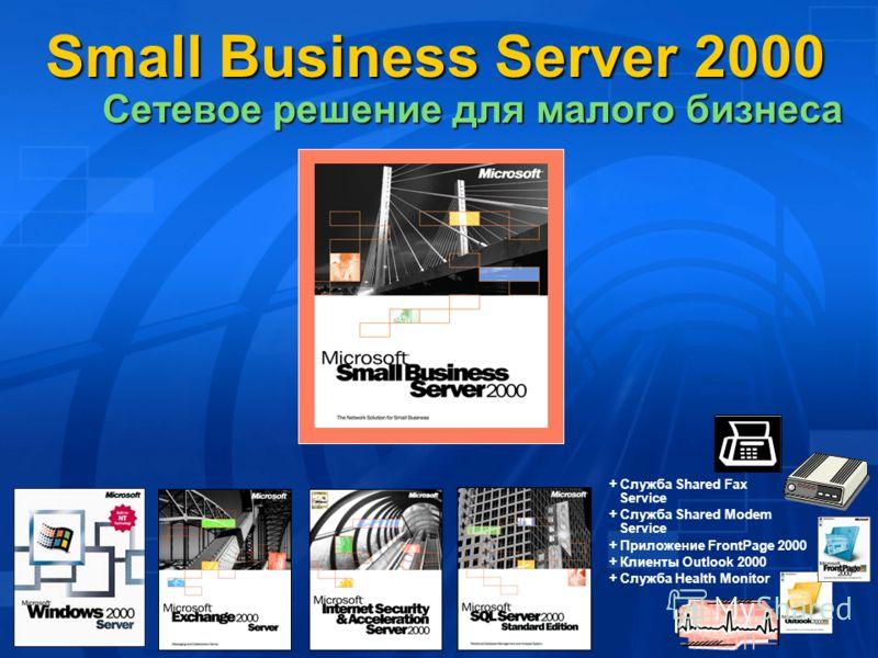 + Служба Shared Fax Service + Служба Shared Modem Service + Приложение FrontPage 2000 + Клиенты Outlook 2000 + Служба Health Monitor Small Business Server 2000 Cетевое решение для малого бизнеса