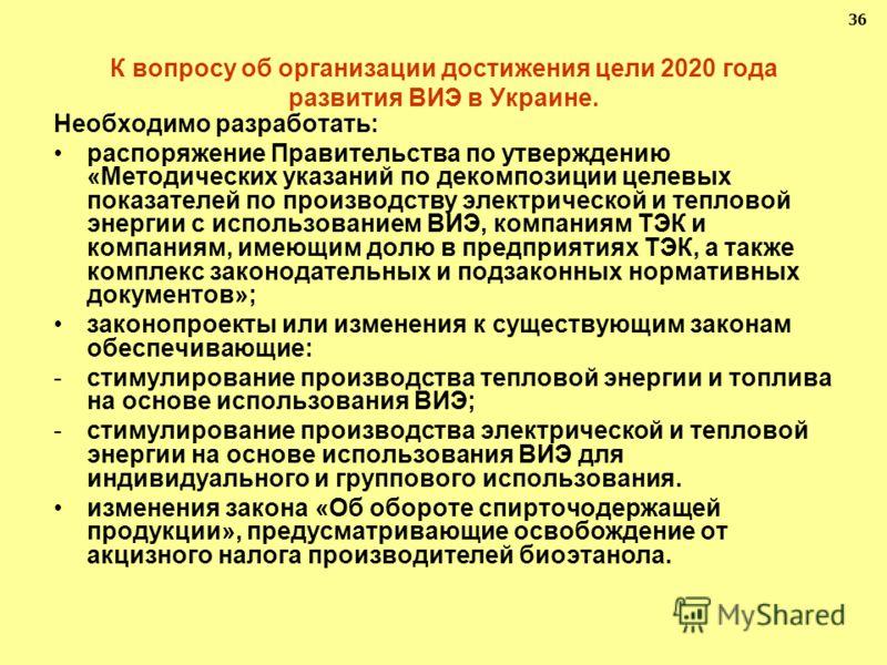 К вопросу об организации достижения цели 2020 года развития ВИЭ в Украине. Необходимо разработать: распоряжение Правительства по утверждению «Методических указаний по декомпозиции целевых показателей по производству электрической и тепловой энергии с